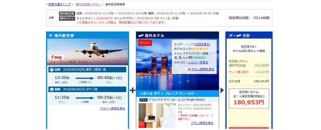 阪急交通社ベトナムツアー検索結果画面