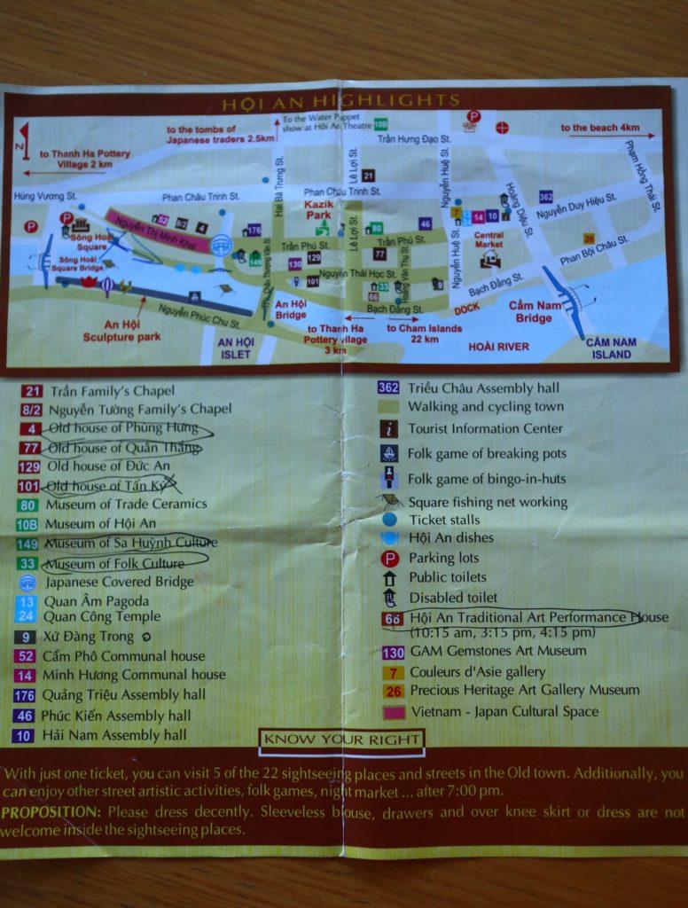 ホイアン旧市街入場チケットのパンフレット